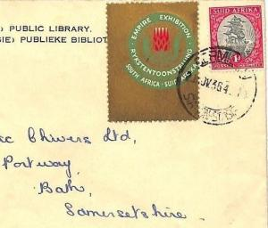 AT39 S.Africa EMPIRE EXHIBITION Label 1964 LIBRARY Cover Bath {samwells-covers}