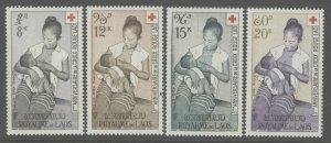 Laos 1958 Red Cross Airmail set Sc# C31-34 NH