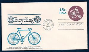 UNITED STATES FDC 15¢ Bicycling 1980 Fleetwood