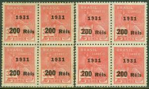 EDW1949SELL : BRAZIL 1931 Scott #356, 356a Blocks of 4. VF, Mint OG Catalog $127