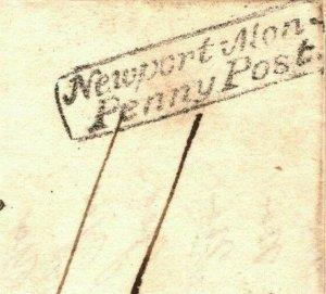 GB Wales Cover *Newport Mon Penny Post* EXCEPTIONAL STRIKE Pontypool 1829 ZA221