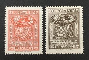 Bolivia 1950 #c138-9, U.N., MNH.