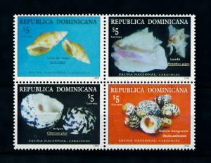 [99652] Dominican Republic 1998 Marine Life Sea shells  MNH