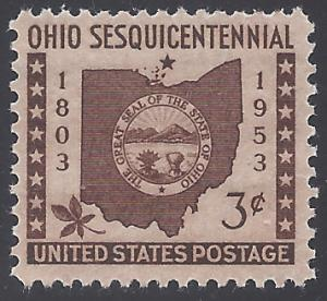 #1018 3c 150th Anniv. Ohio Statehood 1953 Mint NH