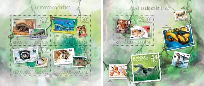 Animals Tiere Birds Insects Marine Fauna Stamps Philately Togo MNH stamp set