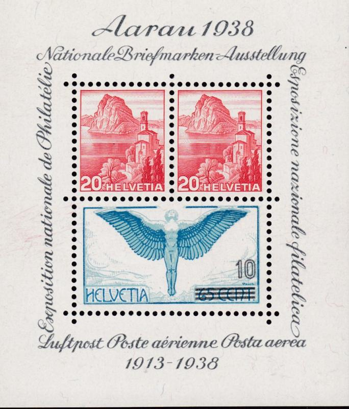 Switzerland 1938 Souvenir Sheet AARAU National Stamp Show VF++/NH(**) Nr. 242