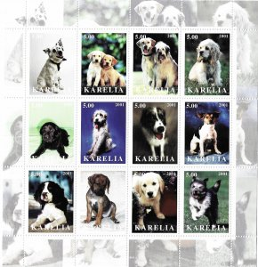 Karelia MNH S/S Sweet Puppies 12 Stamps
