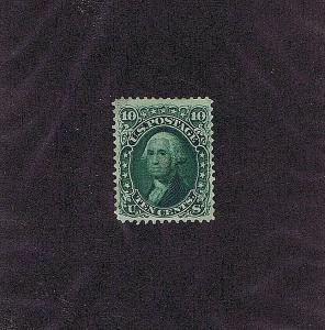 SC# 68 UNUSED ORIGINAL GUM HINGED 10 CENT, WASHINGTON,1861, 2019 PSAG CERT, F VF