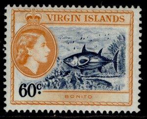 BRITISH VIRGIN ISLANDS QEII SG158, 60c indigo & yellow-orange, LH MINT.