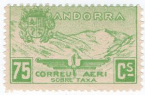 (I.B) Andorra Postal : Airmail 75c