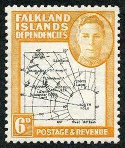 Falkland Is Deps SG G6e 6d Black and Ochre Fine U/M Cat 55 pounds