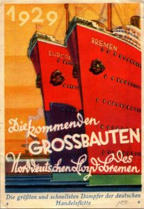 Pioneer airmail stamp advertising card with great graphic German ocean liners