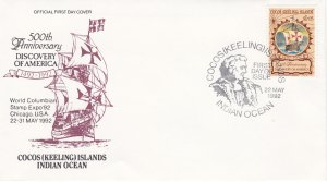 Cocos Islands # 261, Discovery of America 500th Annversary, First Day Cover