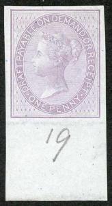 1d Lilac Postal Fiscal SGF5-7 Imprimatur Plate 19