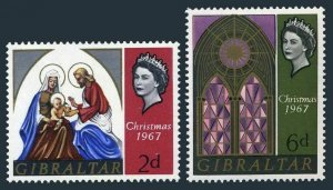 Gibraltar 203-204 blocks/4,MNH.Michel 205-206. Christmas 1967.Holy Family,window