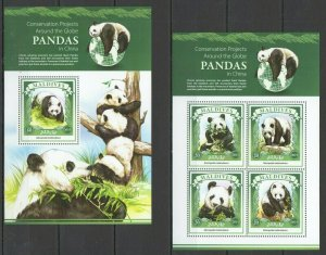 ML180 2015 MALDIVES FAUNA ANIMALS PANDAS IN CHINA 1KB+1BL MNH