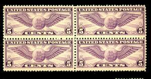 U.S. #C12 MINT Block F-VF OG Top LH Bottom NH Cat $52