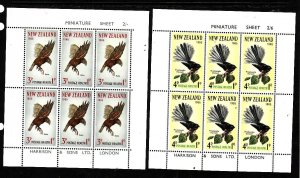 New Zealand-Sc#B69a-70a-two Unused NH sheets-Birds-1965-