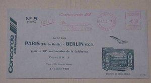 FRANCE CONCORDE FLIGHT TO BERLIN  1976 CACHET