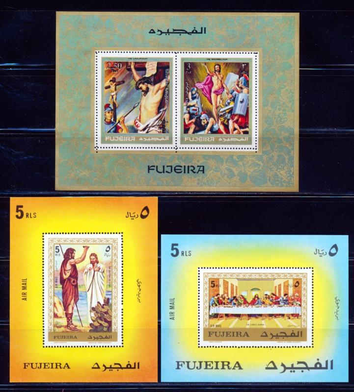 FUJEIRA ART JESUS SCENES FROM THE BIBLE 3 DIFFERENT SOUVENIR SHEETS