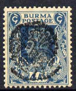 Burma 1942 KG6 4a greenish-blue with (forged) peacock opt...