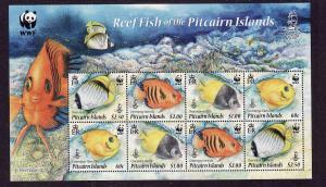 Pitcairn Is.-Sc#705e-unused NH sheet-WWF-Reef Fish-Marine Li