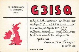 9698 Amateur Radio QSL Card DORSET ENGLAND