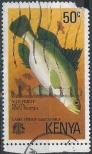 Kenya 68 (used, torn corner) 50c Nile perch (1977)