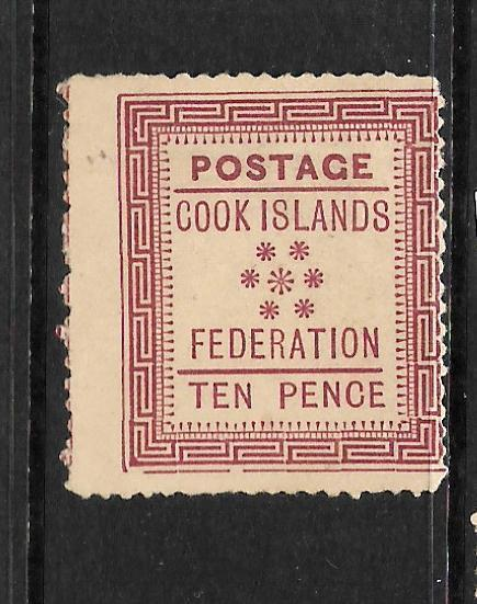 COOK ISLANDS  1892    10d    FEDERATION   MH   SG 4