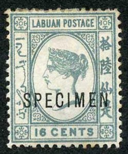 Labuan SG33c 16c Grey wmk Crown CA small Part Gum opt SPECIMEN