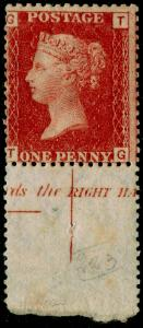 SG43, 1d rose-red plate 223, LH MINT. Cat £130. MARGINAL INSCRIPTION. TG