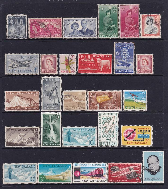 New Zealand a QEII pre decimal lot used