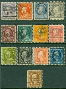 EDW1949SELL : USA 1913-15 Scott #427-40 Fine-Very Fine, Used. Clean. Catalog $89