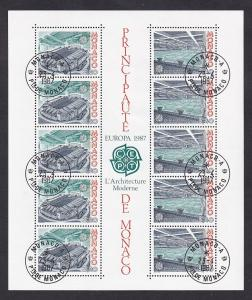 Monaco  #1563a-1564a    cancelled  1987  sheet  Europa  olympic swimming pool