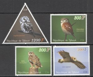 C1095 2014 DJIBOUTI OWLS BIRDS FAUNA 1SET MNH