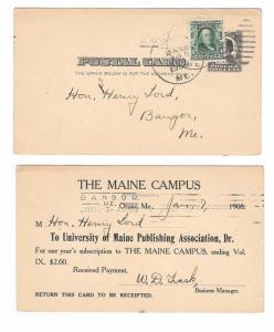 UX19 USED TWICE Maine Campus Publication Orono Me Bangor Me 1908 Barry Cancel