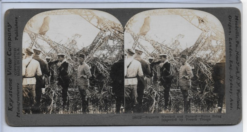 Keystone FRENCH TROOPS INSPECTING A WRECKED ZEPPELIN CRASH Card