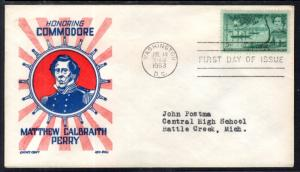 US 1021 Commodore Perry Cachet Craft Boll Typed FDC