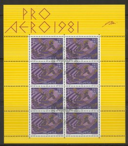Switzerland, 1983 Pro Aero, Miniature Sheet of 8 with FDC,  superb