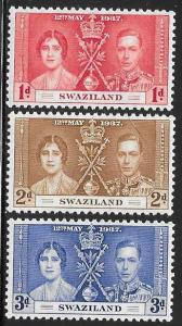 Swaziland 24-26 Unused/Hinged Hinge Remnant - George VI Coronation