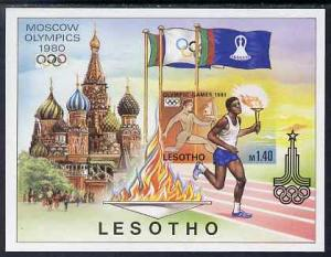 Lesotho 1980 Moscow Olympic Games imperf proof of m/sheet...