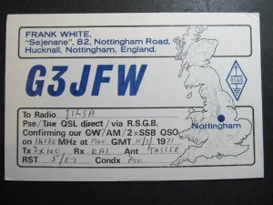 10400 Amateur Radio QSL Card HUCKNALL NOTTINGHAM ENGLAND