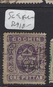 INDIA NATIVE STATE COCHIN (PP1008B)  SG  9  PEN CANCEL