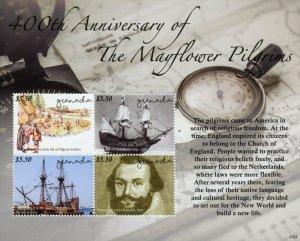 Grenada Ships Stamps 2021 MNH Mayflower Pilgrims 400th Anniv Exploration 4v M/S