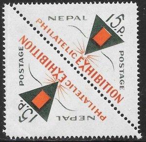Nepal 191 Used - National Philatelic Exhibition - June 10-16 - Pair