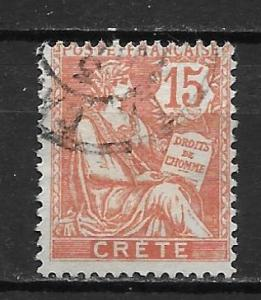 French Offices in Crete 7 15c single Used