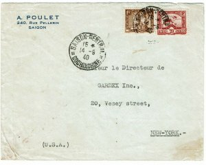 Indochina 1940 Saigon SE 14 cancel on cover to U.S., 8 days before occupation