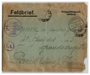 Germany 1915 POW Cover to France / Fold / Edge Tears - Z13923