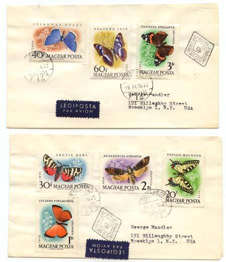 Hungary #1268-1271,C206-8 1959 Butterflies Natural Colours Cplt. Set on Two Cvrs