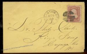 USA 1860s Colorado Territory MOUNTAIN CITY Cover Gold Rush Mining Town 88530